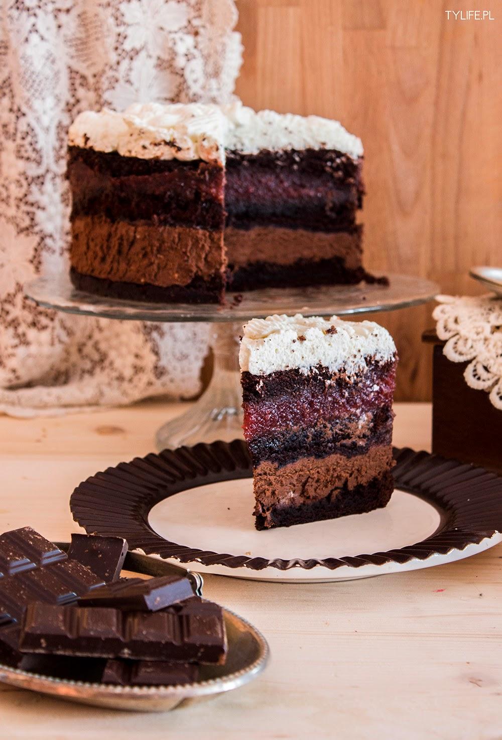 Tort maliny w czekoladzie.